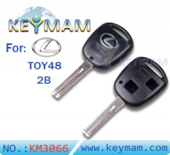 Lexus TOY48 2 button remote key  shell for Silver Logo